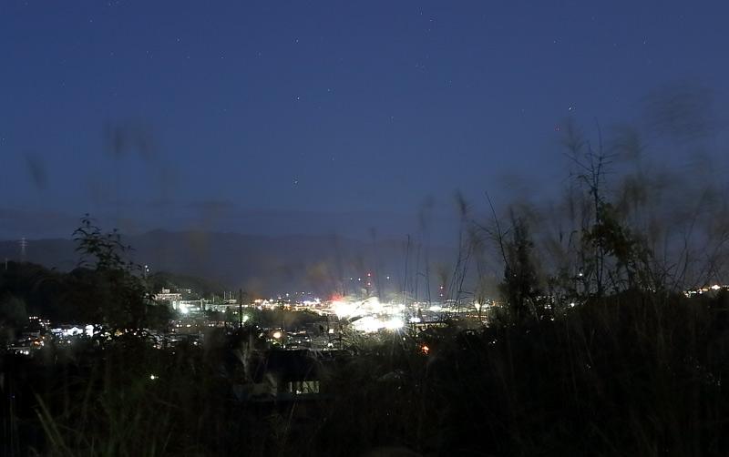 飛騨の里からみた夜景と風に揺れるススキ
