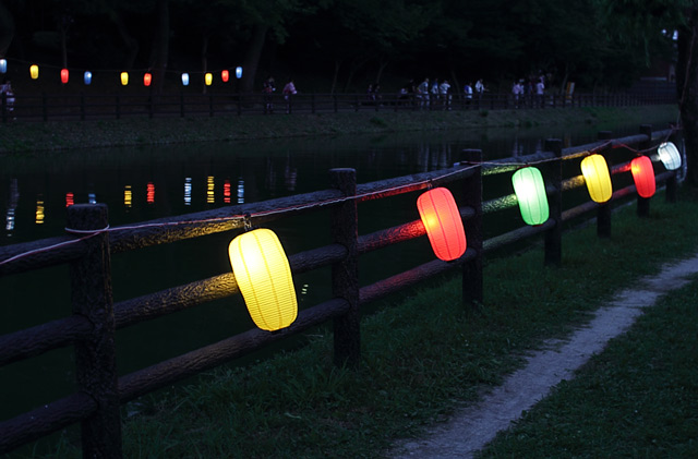 天王川の川岸に灯されたからふるな提灯
