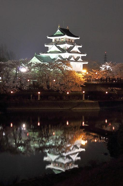 川に映るライトアップされた一夜城と桜