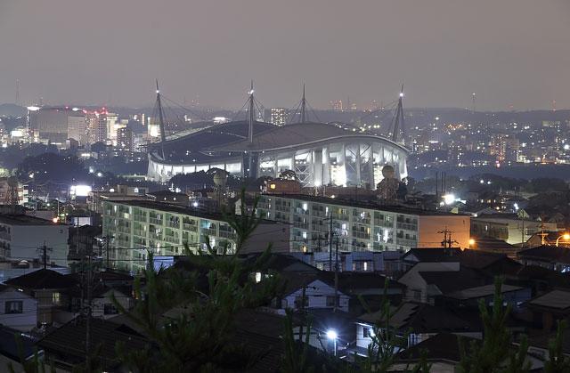 宝来南公園から見た豊田スタジアムの夜景