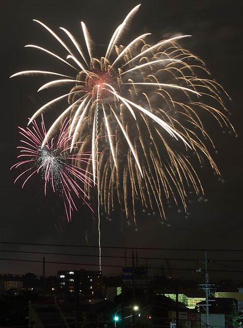 豊橋市の夜景と打ち上げ花火
