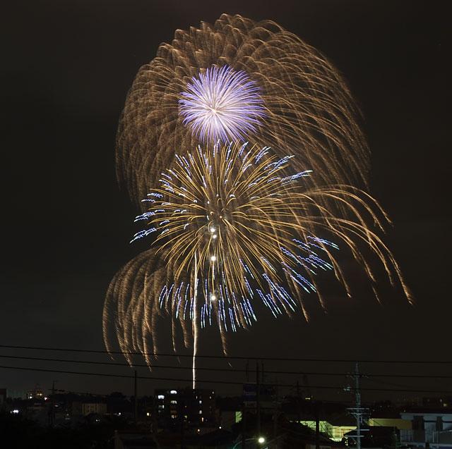 豊橋市の夜景と豊橋祇園祭花火