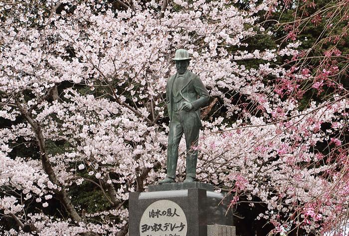ヨハネスデレーケの銅像と桜