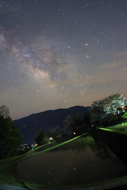 三多気の棚田と桜と星