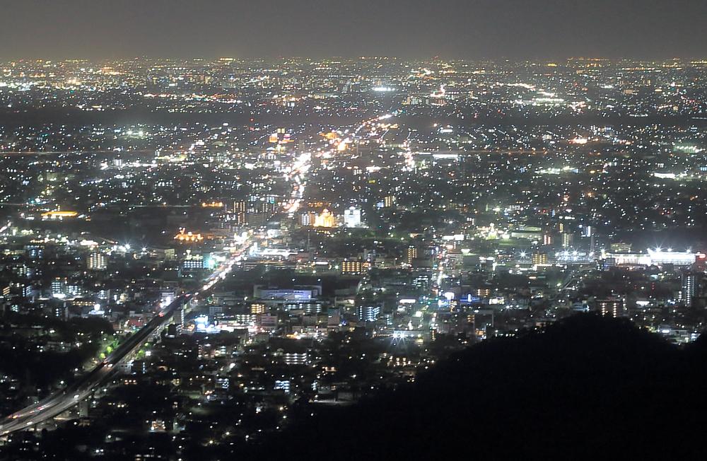 岐阜城店主から望む名古屋方面の夜景
