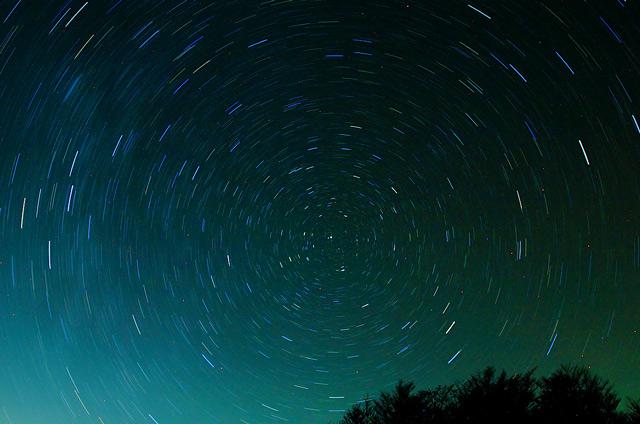北極星を中心とした星の日周運動