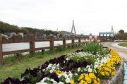 花壇と伊勢湾岸自動車道