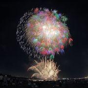 揖斐川中州から打ちあがる花火