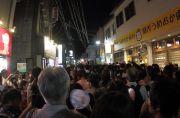 花火終了後に膳所駅に続く道の混雑状況