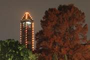 ライトアップされた東山スカイタワーと紅葉
