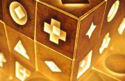 立方体に模様が刻まれた明かり