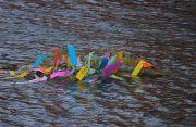 岩田川に流された笹飾り